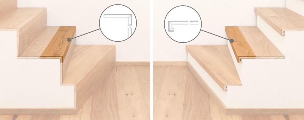 Lesene stopnice - nastopna ploskev in nastopna ploskev s čelom